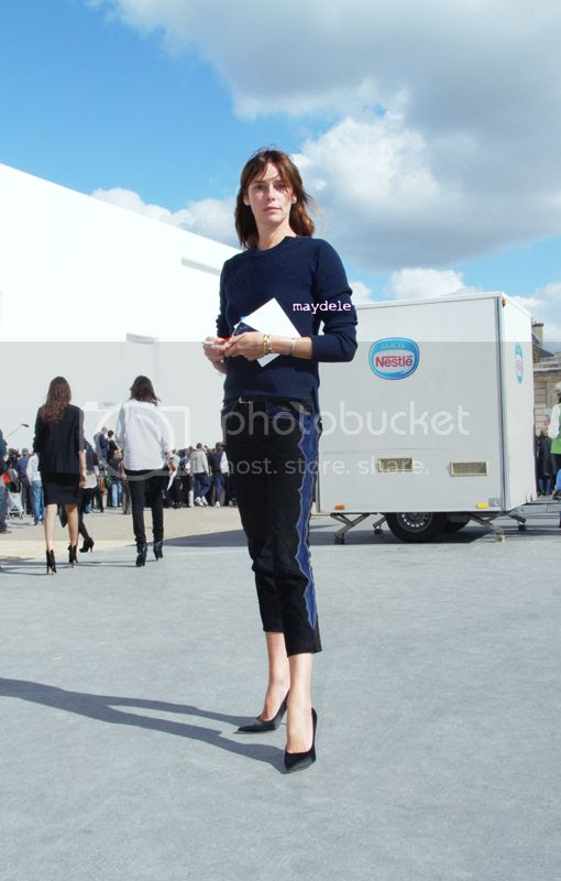 Claire Dhelens wearing a Celine sweater and Isabel Marant Eminoy pants