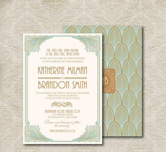 mint-und Braun-art-deco Hochzeit Einladung mit Pfauenfedern und Vignetten