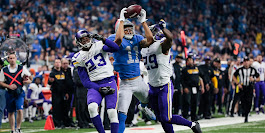 Lions receiver Marvin Jones makes a touchdown catch over Minnesota Vikings cornerbacks Terence Newman, left, Xavier Rhodes in the second half at Ford Field, Thursday, Nov. 23, 2017. Junfu Han, Detroit Free Press