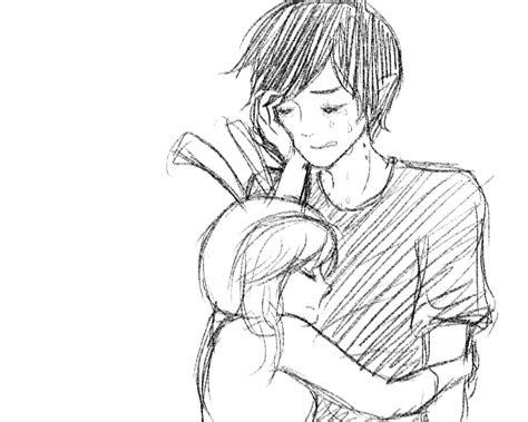 love anime hug drawing foto