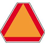 """Hy-ko Ta-1 Slow Moving Vehicle Aluminum Emblem, Orange and Red Border, 14"""" X 16"""""""