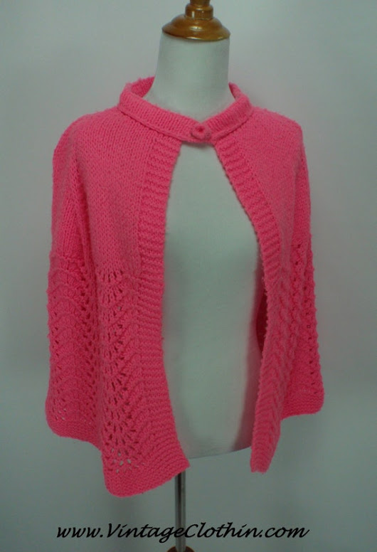 1960s Hot Pink Mod Capelet Cape Shawl Vintage Cape Wool