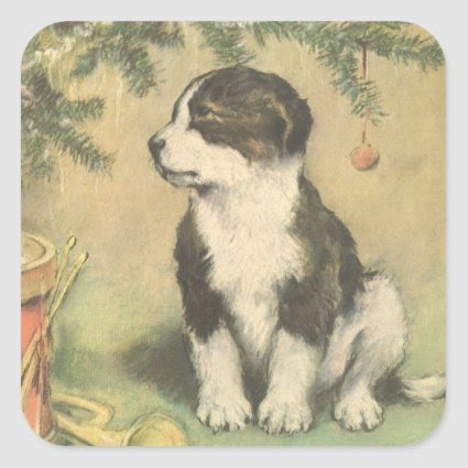 Vintage Christmas, Cute Puppy Under Christmas Tree Stickers