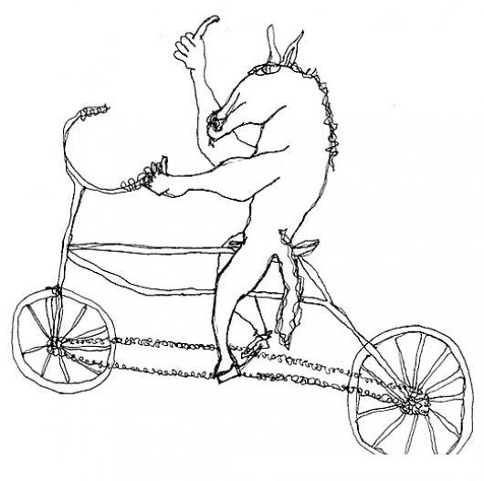 Dibujo De Caballo En Bicicleta Para Pintar Y Colorear Colorear