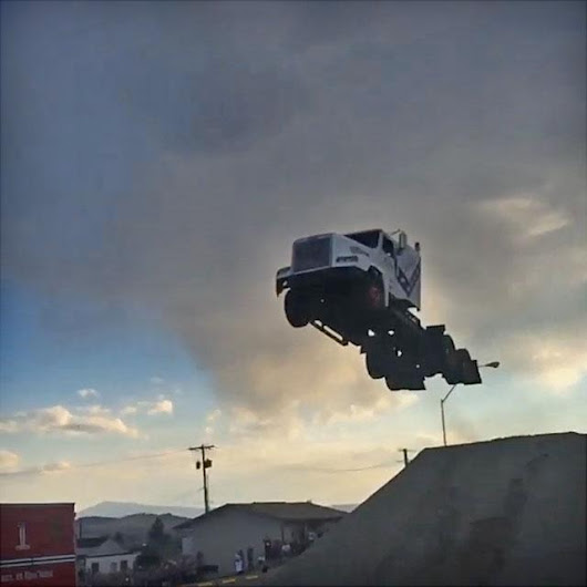 Watch A Semi-Truck Jump 166 Feet To A New World Record