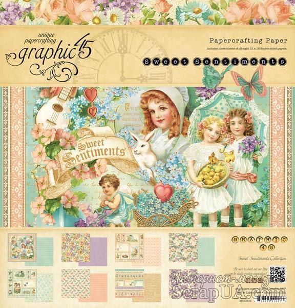 Набор двусторонней скрапбумаги Graphic 45 - Sweet Sentiments, 30х30 см, 8 листов - ScrapUA.com