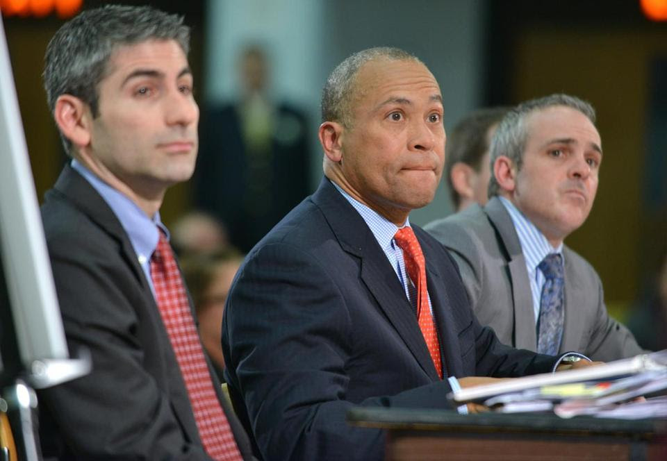 Governor Deval Patrick (center) testified at a state budget hearing.