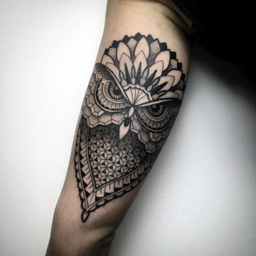 80 Geometric Owl Tattoo Designs For Men - Shape Ink Ideas