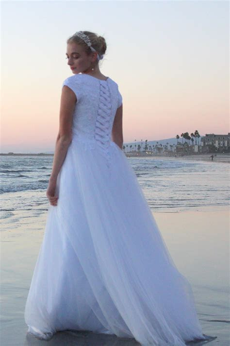 Cecelia LDS Modest Lace & Tulle Wedding Gown with Sleeves