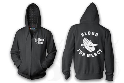 jual jaket hoodie blood  mercy yellow claw sweater logo