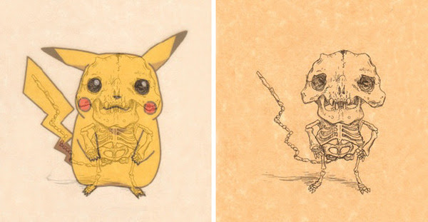 解剖学のお勉強漫画やアニメのキャラクターに骨付けしたイラスト