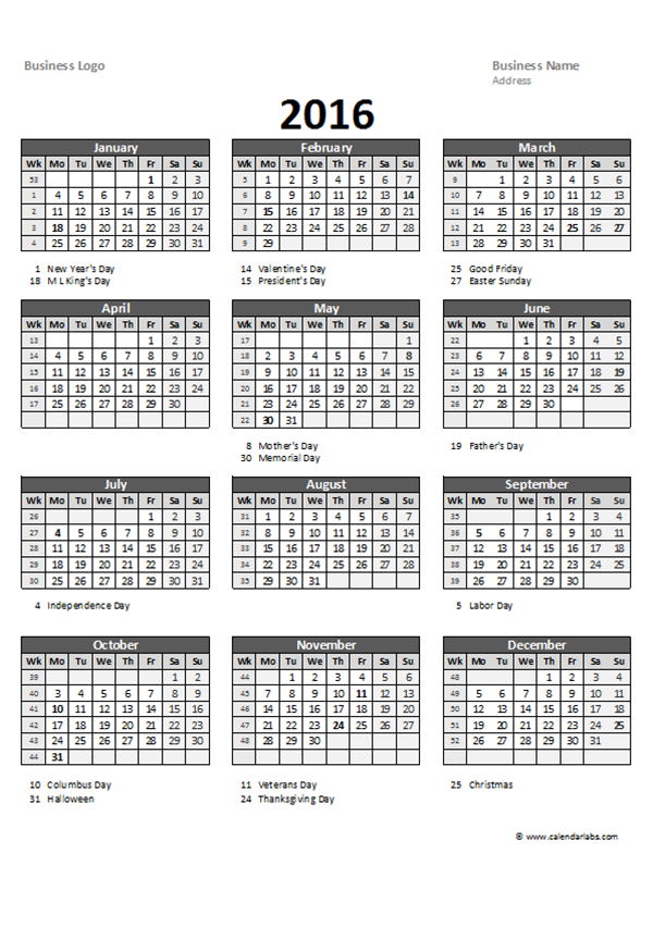 2016 Excel Yearly Calendar 05 - Free Printable Templates