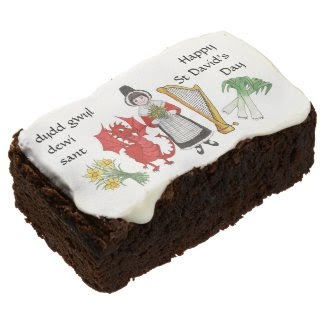Welsh Costume and Emblems St David's Day Brownies Rectangular Brownie