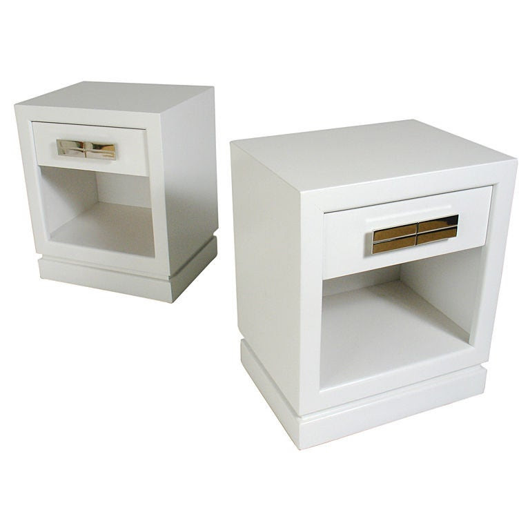 Pair of 1940's Night Stands in White Lacquer w/ Nickel Hardware