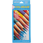 Prismacolor COL-ERASE - Colored pencil - non-permanent - assorted colors - medium - with eraser - pack of 24