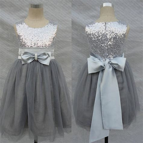 Bling Bling Flowers Girl Dresses Wedding Silver Grey
