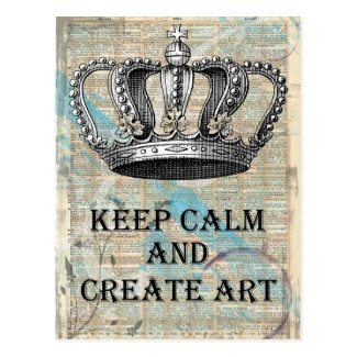 Keep Calm and Create Art Vintage Abstract Design Postcard