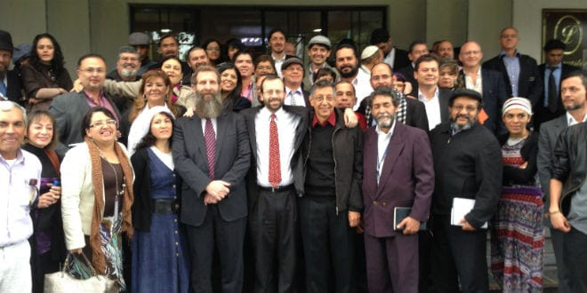 Shavei Israel founder and director Michael Freund (front row center) with Bnei Anousim in Colombia. (Photo: Shavei Israel)
