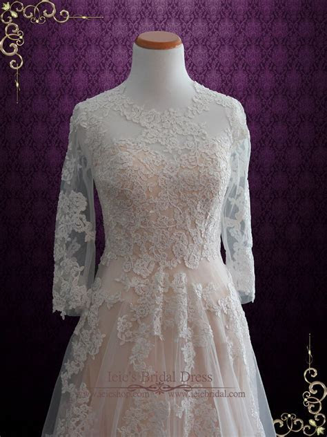 Modest Blush Lace Wedding Dress with Long Sleeves