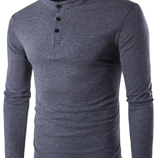 Stand Collar Long Sleeve Button Fly T-Shirt