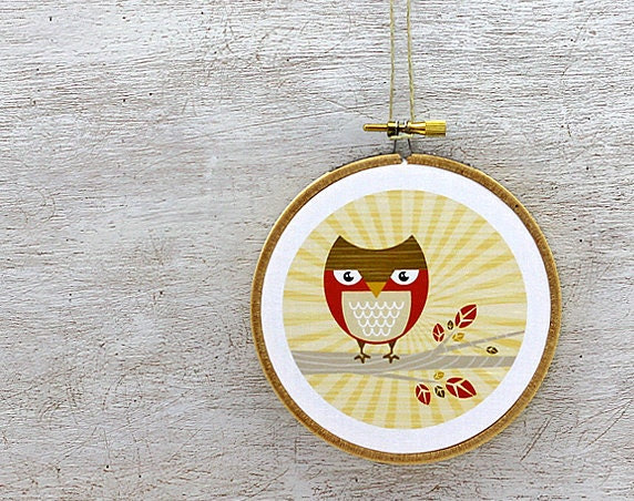Owl Embroidery Hoop Art: Hoot Owl Nursery Art - Fabric Wall Hanging, Honey Gold, Red, Brown, Beige, Tree Branch, Kids, Ready to Hang - sweetharvey
