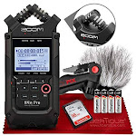 Zoom H4nPro Four-Channel Handy Audio Recorder – Accessory Pack Kit with Windscreen, Table Tripod, 16GB, Batteries and Fibertique Cleaning cloth by