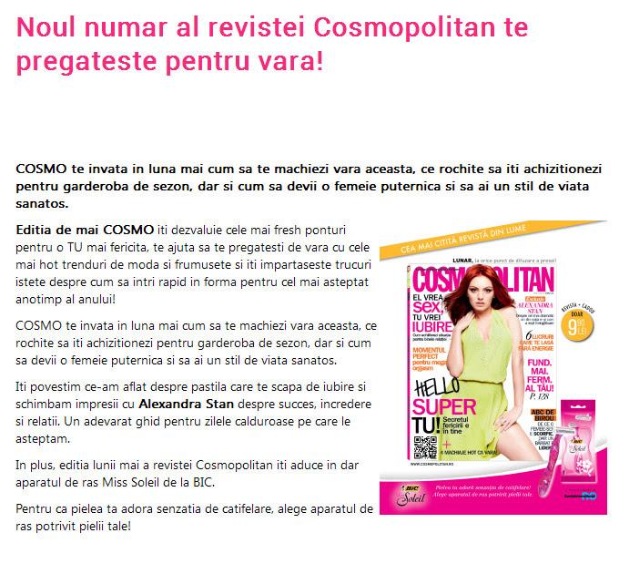 Promo pentru editia de Mai 2014 a revistei Cosmopolitan Romania