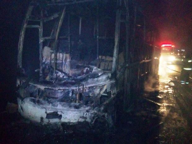 Ônibus ficou totalmente destruído (Foto: Divulgação / Corpo de Bombeiros)