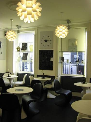 The famous Norm 69 pendants and Panton chairs looking great together.