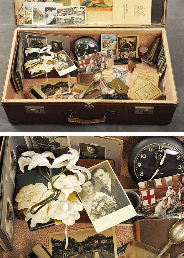 Dmytre's suitcase contained his wedding photo and the silk flowers carried by his wife.