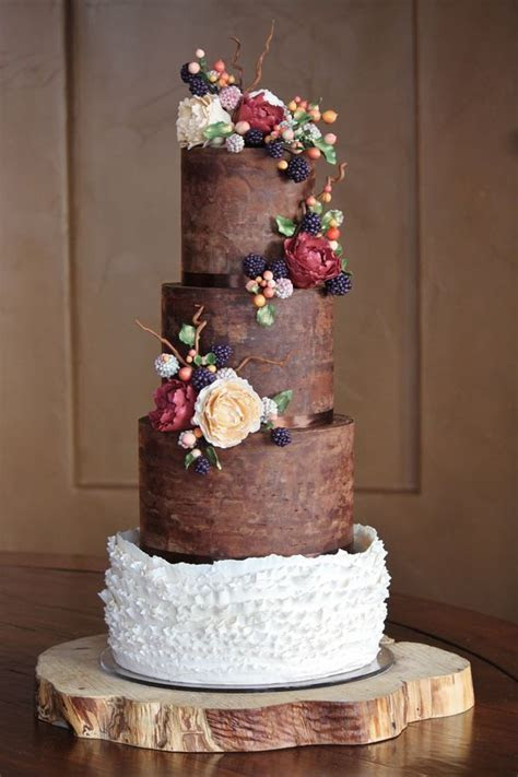 Rustic and organic wedding cake with chocolate ganache