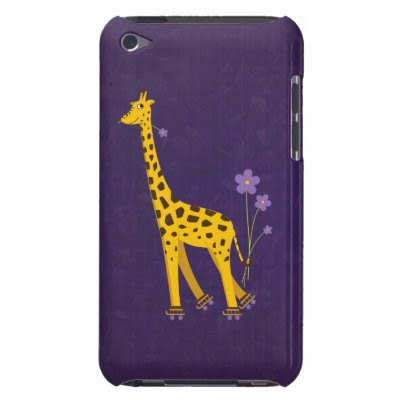 Funny Giraffe Roller Skating Violet Barely There iPod Case