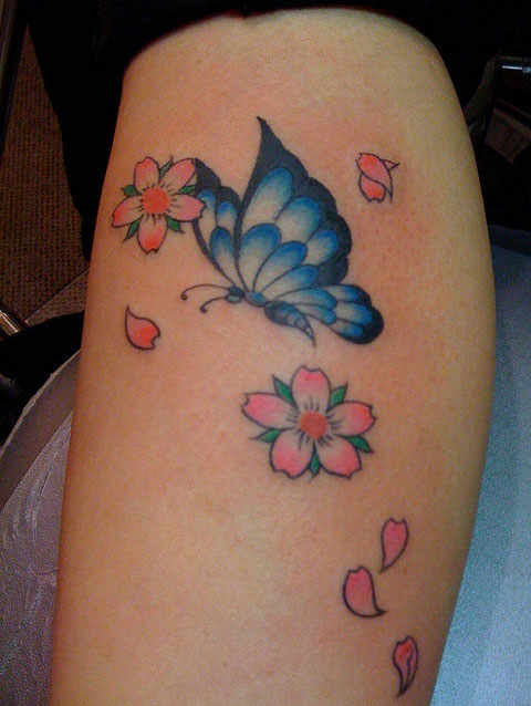 Cherry Blossom Butterfly Traditional Tattoo