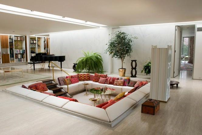6 red white living room conversation pit