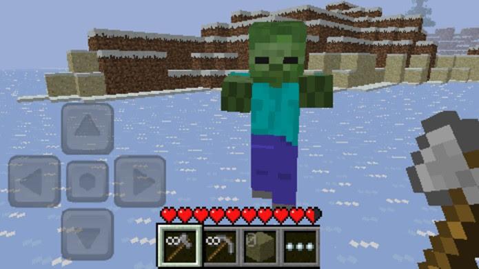 Em Minecraft: Pocket Edition você terá que sobreviver a monstros como zumbis e muito mais (Foto: Reprodução/Softonic)