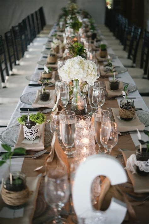 rustic brown, green, and champagne wedding table decor