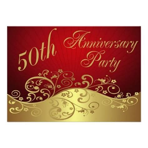 Red Swirl 50th Anniversary Party Invitation in each seller