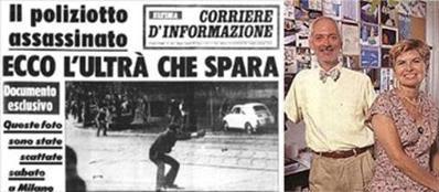 14 maggio 1977: uno degli sparti che uccisero l'agente Custra nella foto pubblicata dal Corriere d'Informazione