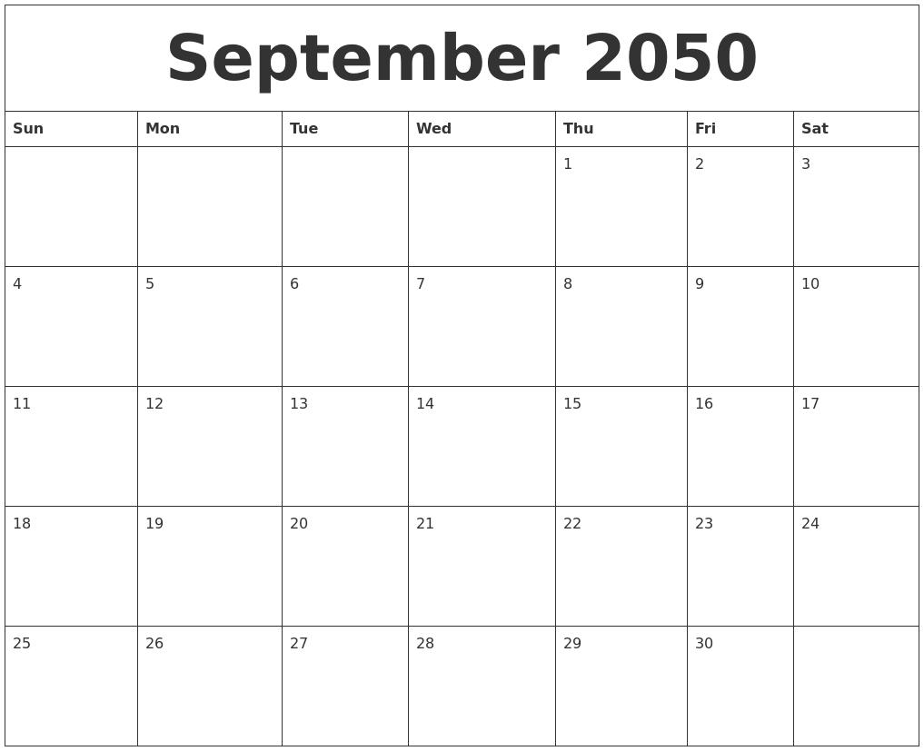september 2050 free calander