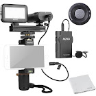 Movo Smartphone Video Kit V2 with Grip Rig, Wireless Lavalier Microphone, LED