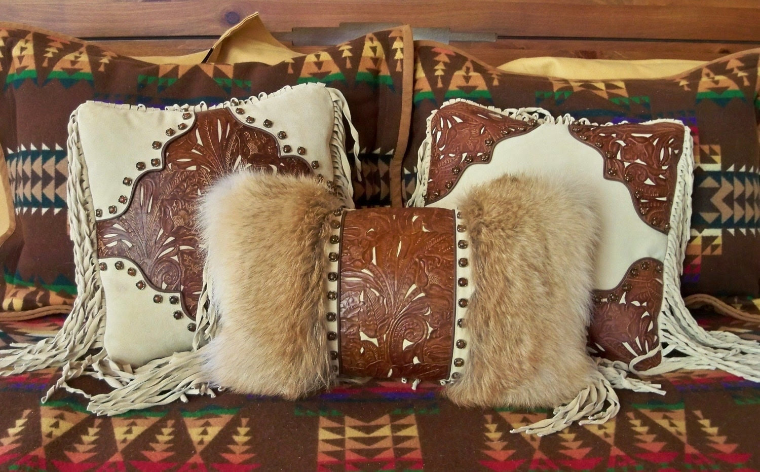 Western leather fur pillow home decor by stargazermercantile