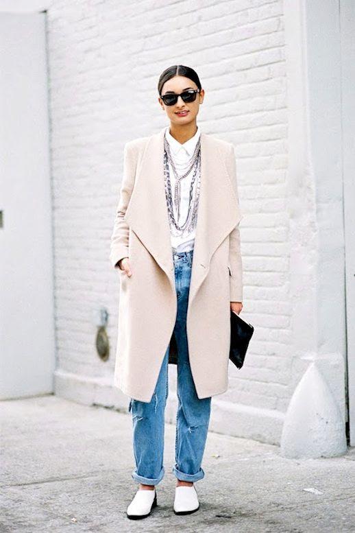Le Fashion Blog Street Style Long Blush Coat Button Down Shirt Layered Necklace Boyfriend Jeans Two Tone Flats Via Vanessa Jackman