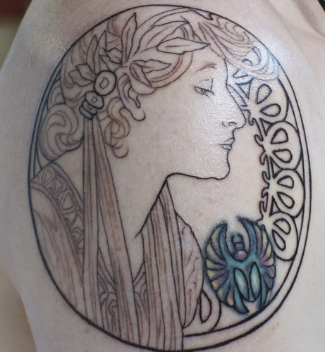 Start of Mucha Arm Tattoo with