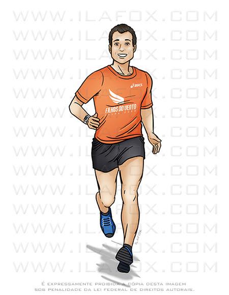homem correndo, caricatura, caricatura personalizada, caricatura desenho, caricatura digital, by ila fox