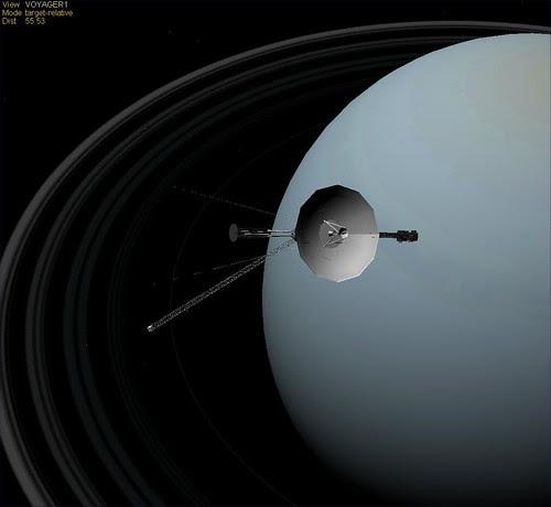 Voyager Uranus, Photo einer Sonde im Orbit des Uranus