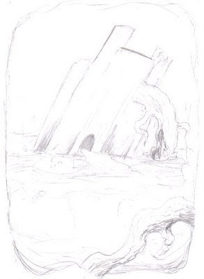 The first sketch of a ruined temple in the swamp