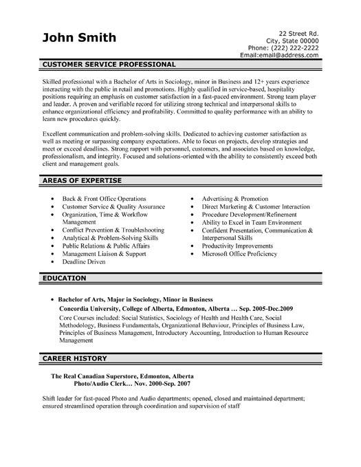 Customer Service Professional Resume Template  Premium Resume Samples  Example