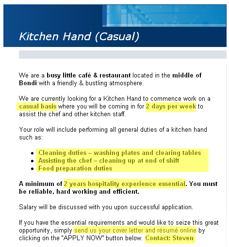 example of cover letter for kitchen hand