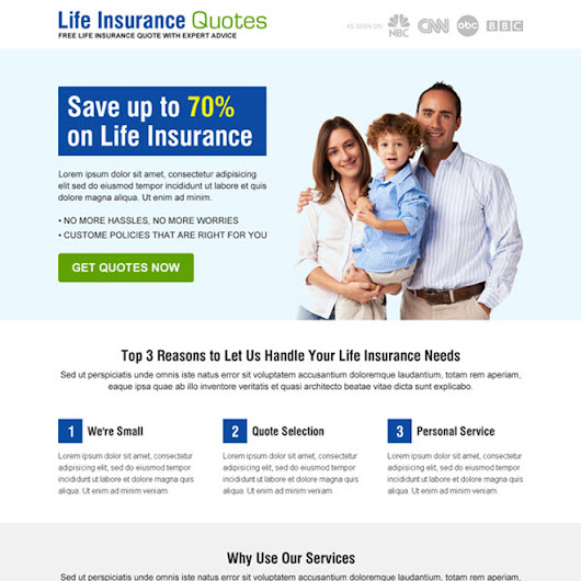 Life Insurance Quotes For Seniors 2 3: Buy Landing Page Design