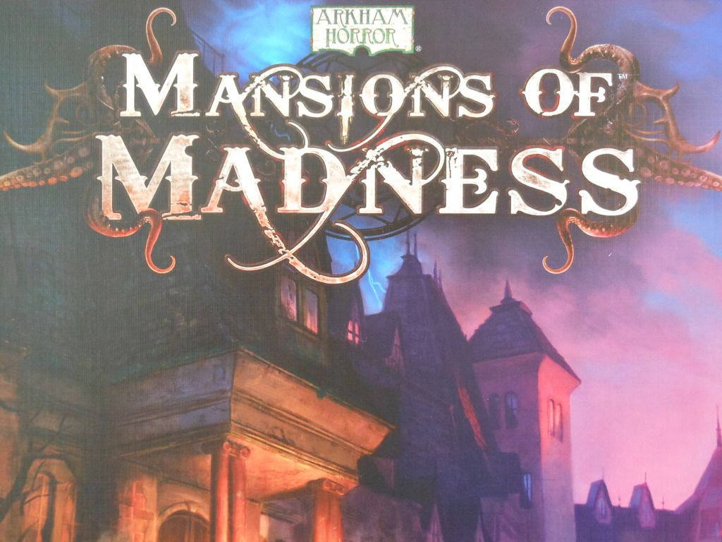 Close up detail on the title on the cover of the Mansions of Madness board game box.